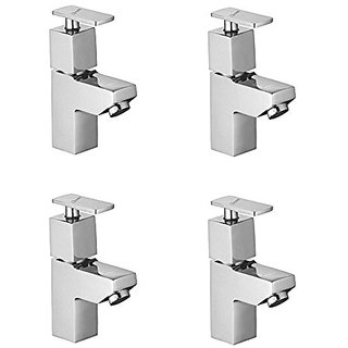 Oleanna Kubix Brass Pillar Cock For Wash Basin And Sink Tap (Disc Fitting | Quarter Turn | Form Flow) Chrome - Pack Of 4 Nos