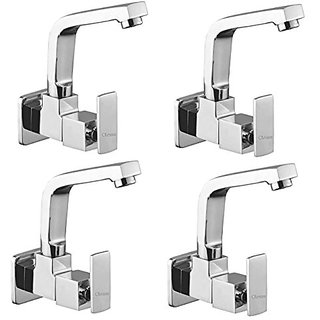 Oleanna Kubix Brass Sink Tap With Wall Flange Sink Cock With Swivel Casted Spout Wall Mounted (Disc Fitting | Quarter Turn | Form Flow) Chrome - Pack Of 4 Nos
