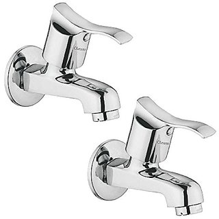 Oleanna Angel Brass Bib Tap With Wall Flange (Disc Fitting   Quarter Turn   Form Flow) Chrome - Pack Of 2 Nos
