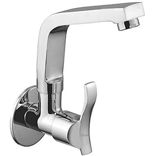 Oleanna Angel Brass Sink Tap With Wall Flange Sink Cock With Swivel Casted Spout Wall Mounted (Disc Fitting | Quarter Turn | Form Flow) Chrome