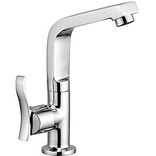 Oleanna Angel Brass Swan Neck Pillar Tap with Swivel Spout for Sink and Basin Kitchen and Bathroom (Disc Fitting   Quarter Turn   Form Flow) Chrome