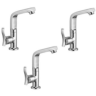 Oleanna Angel Brass Swan Neck Pillar Tap With Swivel Spout For Sink And Basin Kitchen And Bathroom (Disc Fitting | Quarter Turn | Form Flow) Chrome - Pack Of 3 Nos