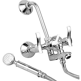 Oleanna Angel Brass Wall Mixer 3 in 1 with 115Mm Bend Pipe and Provision for Over Head and Hand Shower (Disc Fitting | Quarter Turn | Form Flow) Chrome