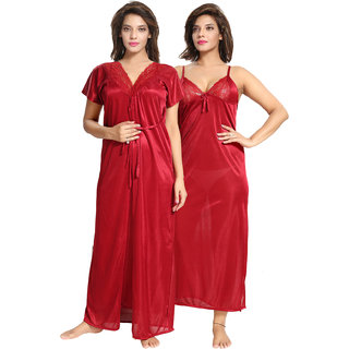 ee73ec91fd Buy Be You Maroon Solid Women Nighty with Robe 2 pieces Nighty ...