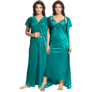 Be You Turquoise Solid Women Nighty with Robe 2 pieces Nighty