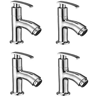 Oleanna Desire Brass Pillar Cock For Wash Basin And Sink Tap (Disc Fitting | Quarter Turn | Form Flow) Chrome - Pack Of 4 Nos