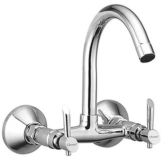 Oleanna Fancy Brass Sink Mixer With Swivel Spout Wall Mounted (Disc Fitting | Quarter Turn | Form Flow) Chrome