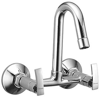 Oleanna Desire Brass Sink Mixer With Swivel Spout Wall Mounted (Disc Fitting | Quarter Turn | Form Flow) Chrome