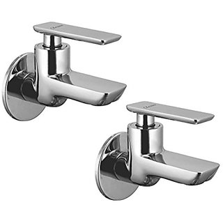 Oleanna Golf Brass Bib Tap With Wall Flange (Disc Fitting   Quarter Turn   Form Flow) Chrome - Pack Of 2 Nos