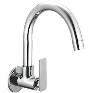Oleanna Golf Brass Sink Tap With Wall Flange Sink Cock With Swivel Casted Spout Wall Mounted (Disc Fitting | Quarter Turn | Form Flow) Chrome