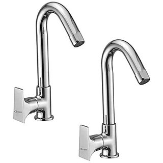 Oleanna Global Brass Swan Neck Pillar Tap With Swivel Spout For Sink And Basin Kitchen And Bathroom (Disc Fitting | Quarter Turn | Form Flow) Chrome - Pack Of 2 Nos