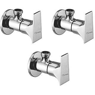 Oleanna Global Brass Angle Valve With Wall Flange Agular Cock (Disc Fitting | Quarter Turn) Chrome - Pack Of 3 Nos