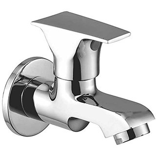 Oleanna Global Brass Bib Tap With Wall Flange (Disc Fitting   Quarter Turn   Form Flow) Chrome