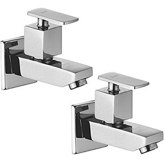 Oleanna Kubix Brass Bib Tap With Wall Flange (Disc Fitting   Quarter Turn   Form Flow) Chrome - Pack Of 2 Nos