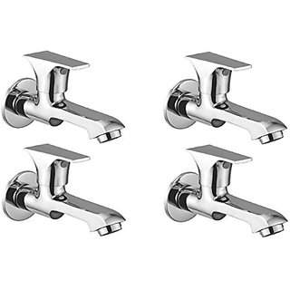 Oleanna Global Brass Long Nose Bib Cock With Wall Flange Long Body Tap (Disc Fitting | Quarter Turn | Form Flow) Chrome - Pack Of 4 Nos
