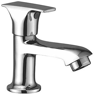 Oleanna Global Brass Pillar Cock For Wash Basin And Sink Tap (Disc Fitting | Quarter Turn | Form Flow) Chrome