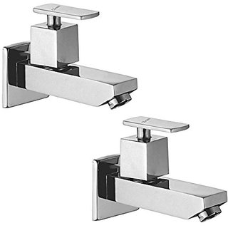 Oleanna Kubix Brass Long Nose Bib Cock With Wall Flange Long Body Tap (Disc Fitting | Quarter Turn | Form Flow) Chrome - Pack Of 2 Nos