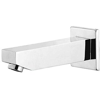 Oleanna Kubix Brass Plain Spout With Wall Flange Used For Divertor, Concealed,Angular Cock Bath Tub Spout Chrome