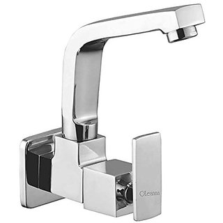 Oleanna Kubix Brass Sink Tap With Wall Flange Sink Cock With Swivel Casted Spout Wall Mounted (Disc Fitting   Quarter Turn   Form Flow) Chrome