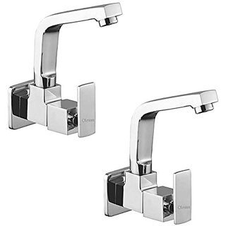 Oleanna Kubix Brass Sink Tap With Wall Flange Sink Cock With Swivel Casted Spout Wall Mounted (Disc Fitting | Quarter Turn | Form Flow) Chrome - Pack Of 2 Nos