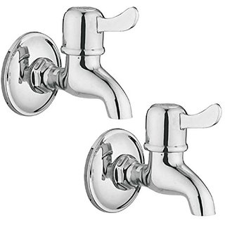 Oleanna Magic Brass Bib Tap With Wall Flange (Disc Fitting | Quarter Turn) Chrome - Pack Of 2 Nos