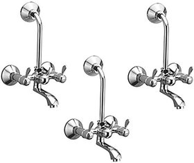 Oleanna Magic Brass Telephonic Wall Mixer With 115Mm Long Bend Pipe With Provision For Over Head Shower (Disc Fitting | Quarter Turn | Form Flow) Chrome - Pack Of 3 Nos