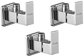 Oleanna Square Brass Angle Valve With Wall Flange Agular Cock (Disc Fitting | Quarter Turn) Chrome - Pack Of 3 Nos