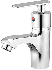 Oleanna Speed Brass Single Lever Basin Mixer with 450Mm Flexible Hose and Hot & Cold Water Feature (High Quality Cartridges | Quarter Turn | Form Flow) Chrome