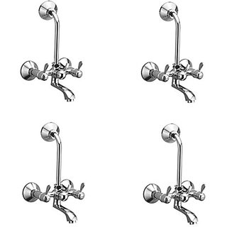 Oleanna Magic Brass Telephonic Wall Mixer With 115Mm Long Bend Pipe With Provision For Over Head Shower (Disc Fitting   Quarter Turn   Form Flow) Chrome - Pack Of 4 Nos