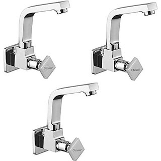 Oleanna Melody Brass Sink Tap With Wall Flange Sink Cock With Swivel Casted Spout Wall Mounted (Disc Fitting | Quarter Turn | Form Flow) Chrome - Pack Of 3 Nos