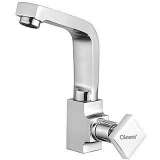 Oleanna Melody Brass Swan Neck Pillar Tap With Swivel Spout For Sink And Basin Kitchen And Bathroom (Disc Fitting | Quarter Turn | Form Flow) Chrome