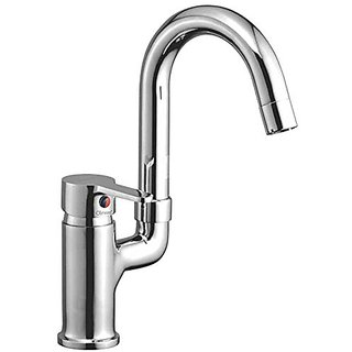 Oleanna Orange Brass Single Lever Fittings Single Lever Sink Mixer Table Mounted With Swivel Spout And 450Mm Braided Connection Pipe And Hot & Cold Water Feature (High Quality Cartridges | Quarter Turn | Form Flow) Chrome