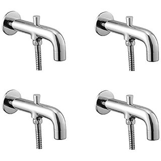 Oleanna Orange Brass Bath Spout With Tip-Ton And Wall Flange With Provision For Hand Shower Bath Tub Spout Chrome - Pack Of 4 Nos