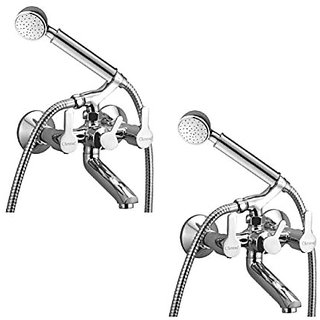 Oleanna Orange Brass Telephonic Wall Mixer With Crutch And Hand Shower Set Included (Disc Fitting | Quarter Turn | Form Flow) Chrome - Pack Of 2 Nos