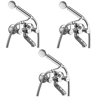 Oleanna Orange Brass Telephonic Wall Mixer With Crutch And Hand Shower Set Included (Disc Fitting | Quarter Turn | Form Flow) Chrome - Pack Of 3 Nos