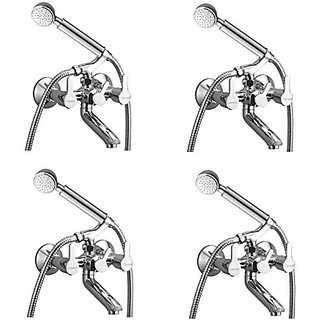 Oleanna Orange Brass Telephonic Wall Mixer With Crutch And Hand Shower Set Included (Disc Fitting   Quarter Turn   Form Flow) Chrome - Pack Of 4 Nos
