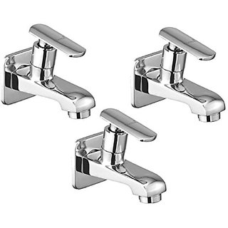 Oleanna Speed Brass Bib Tap With Wall Flange (Disc Fitting | Quarter Turn | Form Flow) Chrome - Pack Of 3 Nos