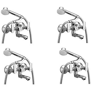 Oleanna Speed Brass Telephonic Wall Mixer With Crutch And Hand Shower Set Included (Disc Fitting | Quarter Turn | Form Flow) Chrome - Pack Of 4 Nos