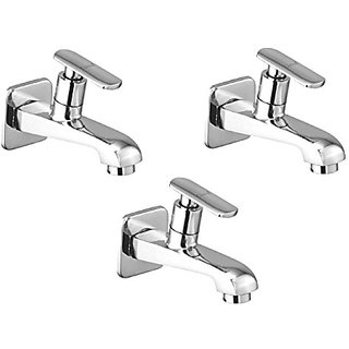 Oleanna Speed Brass Long Nose Bib Cock With Wall Flange Long Body Tap (Disc Fitting | Quarter Turn | Form Flow) Chrome - Pack Of 3 Nos