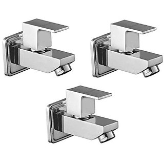 Oleanna Square Brass Bib Tap With Wall Flange (Disc Fitting | Quarter Turn | Form Flow) Chrome - Pack Of 3 Nos