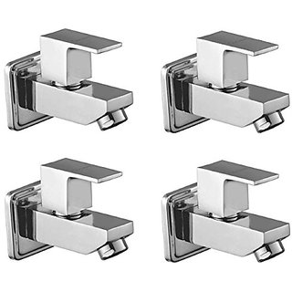 Oleanna Square Brass Bib Tap With Wall Flange (Disc Fitting   Quarter Turn   Form Flow) Chrome - Pack Of 4 Nos