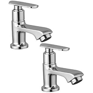 Oleanna Speed Brass Pillar Cock For Wash Basin And Sink Tap (Disc Fitting | Quarter Turn | Form Flow) Chrome - Pack Of 2 Nos