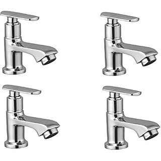 Oleanna Speed Brass Pillar Cock For Wash Basin And Sink Tap (Disc Fitting | Quarter Turn | Form Flow) Chrome - Pack Of 4 Nos