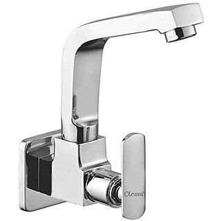 Oleanna Speed Brass Sink Tap With Wall Flange Sink Cock With Swivel Casted Spout Wall Mounted (Disc Fitting | Quarter Turn | Form Flow) Chrome