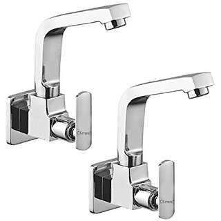 Oleanna Speed Brass Sink Tap With Wall Flange Sink Cock With Swivel Casted Spout Wall Mounted (Disc Fitting | Quarter Turn | Form Flow) Chrome - Pack Of 2 Nos