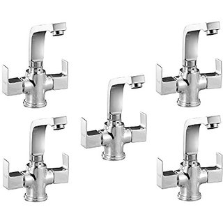 Oleanna Square Brass Center Hole Basin Mixer With 450Mm Flexible Hose And Hot & Cold Water Feature (Disc Fitting | Quarter Turn | Form Flow) Chrome - Pack Of 5 Nos
