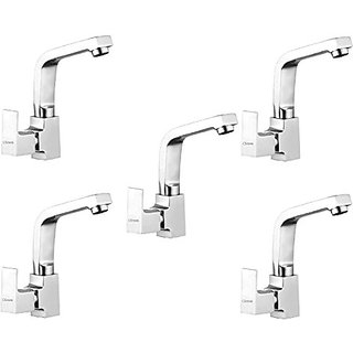 Oleanna Square Brass Swan Neck Pillar Tap With Swivel Spout For Sink And Basin Kitchen And Bathroom (Disc Fitting | Quarter Turn | Form Flow) Chrome - Pack Of 5 Nos