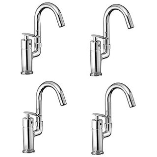Oleanna Speed Brass Single Lever Fittings Single Lever Sink Mixer Table Mounted With Swivel Spout And 450Mm Braided Connection Pipe And Hot & Cold Water Feature (High Quality Cartridges | Quarter Turn | Form Flow) Chrome - Pack Of 4 Nos