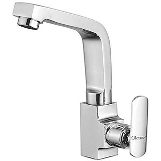Oleanna Speed Brass Swan Neck Pillar Tap With Swivel Spout For Sink And Basin Kitchen And Bathroom (Disc Fitting | Quarter Turn | Form Flow) Chrome