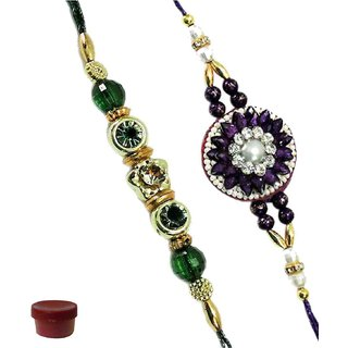 Attention-Getting Set of 2 Pearl  Stone Rakhi